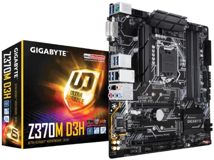 Gigabyte GA-Z370M-D3H LGA1151 8Gen mATX MB 4xDDR4 2xPCIEx16 DVI HDMI 2xM.2 6xSATA3 RAID Intel GbE LAN Crossfire 1xUSB-C 8xUSB3.1 4xUSB2.0 RGB