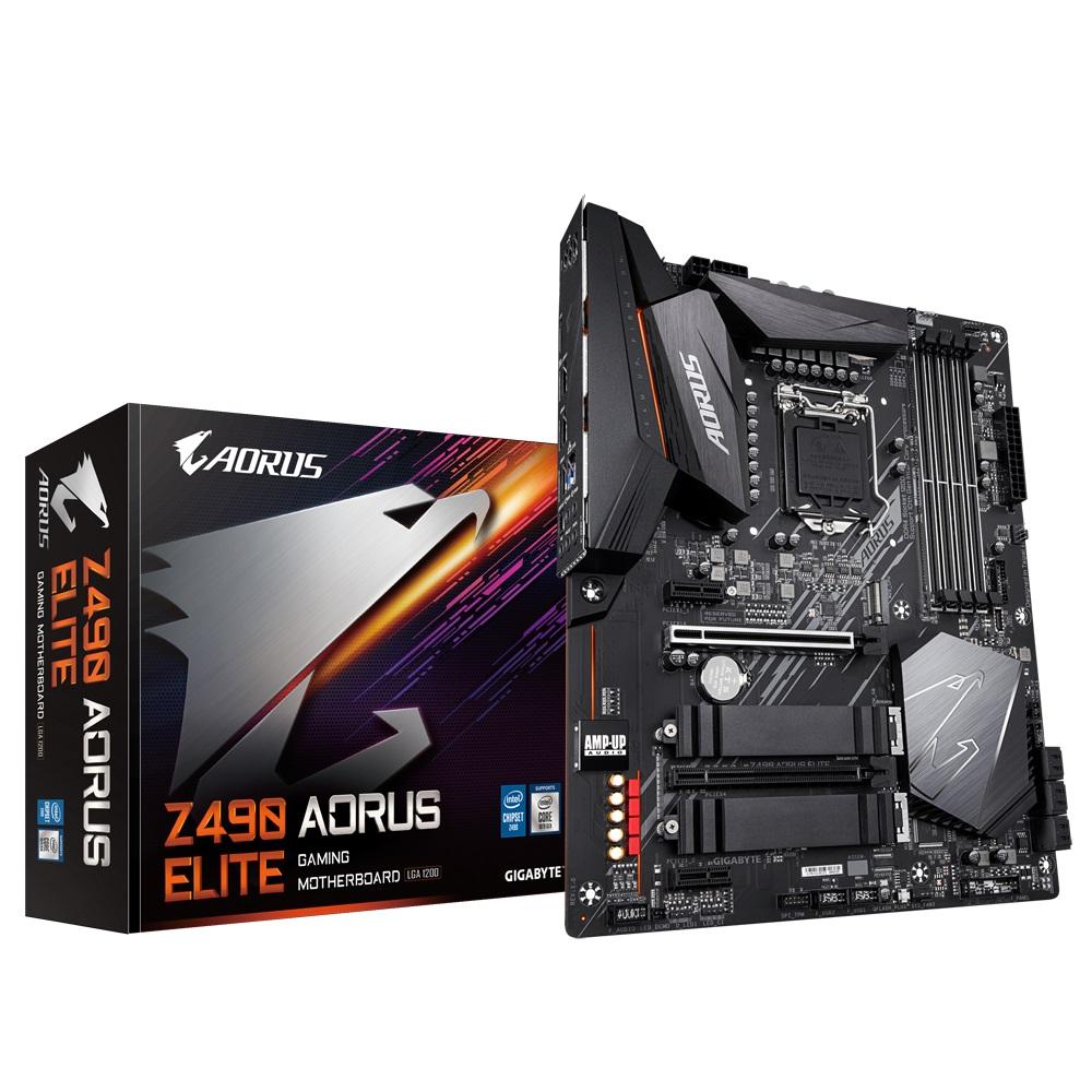Gigabyte Z490 AORUS ELITE Intel ATX Motherboard 4xDDR4 3xPCIe 2xM.2 6xSATA RAID 10th Gen LGA1200  2.5GbE LAN Crossfire Thunderbolt RGB 1xHDMI 1xUSB-C