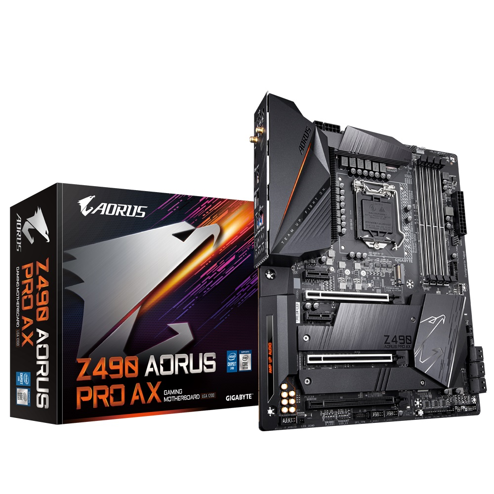 Gigabyte Z490 AORUS PRO AX Intel ATX Motherboard 4xDDR4 3cPCIe 2xM.2 6xSATA RAID 10th Gen LGA1200  2.5GbE LAN WiFi BT Crossfire SLI RGB 1xUSB-C