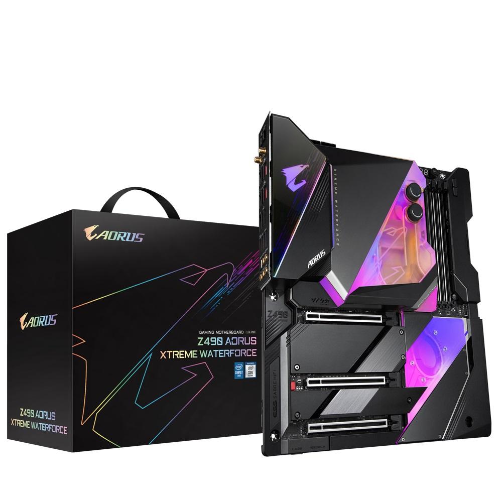 Gigabyte Z490 AORUS XTREME WATERFORCE Intel E-ATX Motherboard 4xDDR4 3xPCIe 3xM.2 6xSATA RAID 2.5GbE LAN 10th Gen LGA1200  Crossfire SLI RGB 1xHDMI