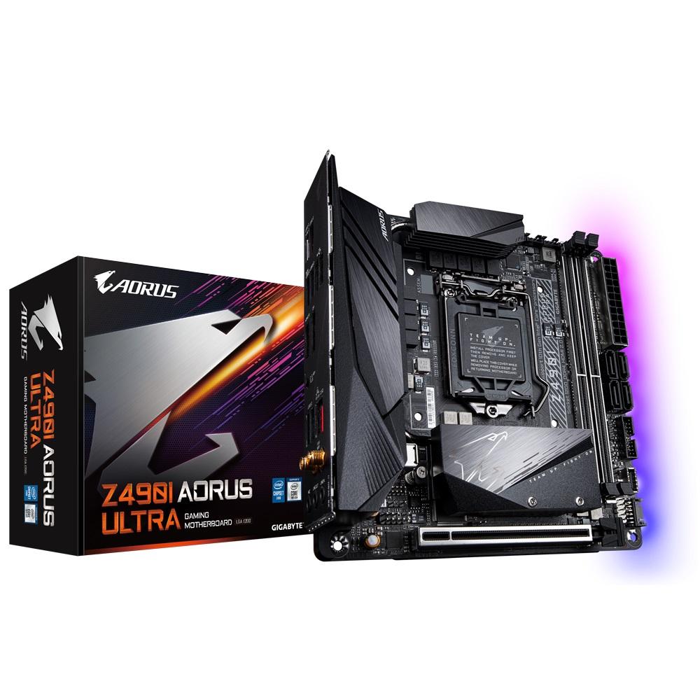 Gigabyte Z490I AORUS ULTRA Intel Mini-ITX Motherboard 2xDDR4 1xPCIe 2xM.2 4xSATA RAID  2.5GbE LAN 10th Gen LGA1200  WiFi BT RGB 1xDP 1xHDMI 1xUSB-C