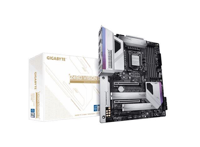 Gigabyte Z490 VISION G Intel ATX Motherboard 4xDDR4 4xPCIe  2xM.2 6xSATA RAID 2.5GbE LAN 10th Gen LGA1200 Crossfire SLI RGB 1xDP 1xHDMI 1xUSB-C