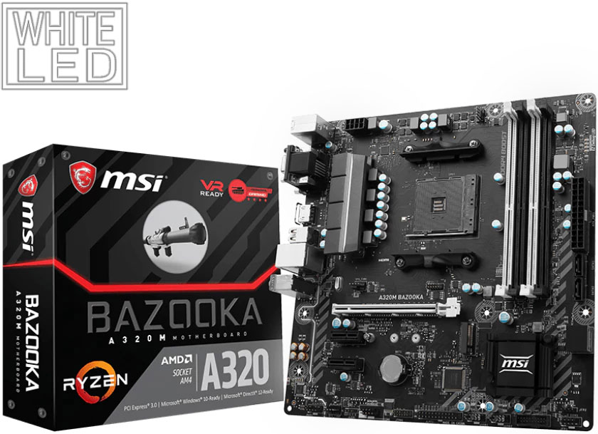 MSI A320M BAZOOKA MATX Motherboard - AMD AM4 Ryzen 4xDDR4 PCI-E M.2 HDMI/DVI/VGA