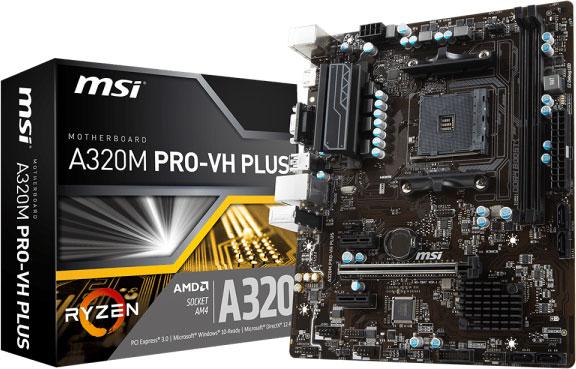 MSI A320M PRO-VH PLUS MATX Motherboard - AMD AM4 Ryzen 2xDDR4 1xPCI-E TPM HDMI/VGA LS