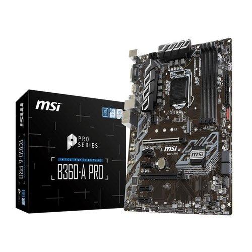MSI B360-A PRO ATX Motherboard - S1151 8Gen 4xDDR4 6xPCI-E, 1xM.2, 4xUSB3.1, 2xUSB2.0, 1xDP, 1xDVI (LS)