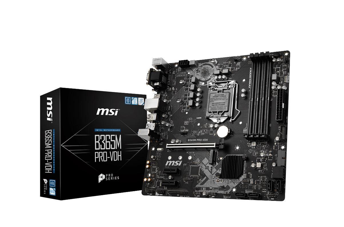 MSI B365M PRO-VDH LGA1151 9Gen mATX MB 4xDDR4 1xPCIe x16 DVI 1xHDMI 1xVGA, M.2 6xSATAIII 8xUSB3.1 6xUSB2.0