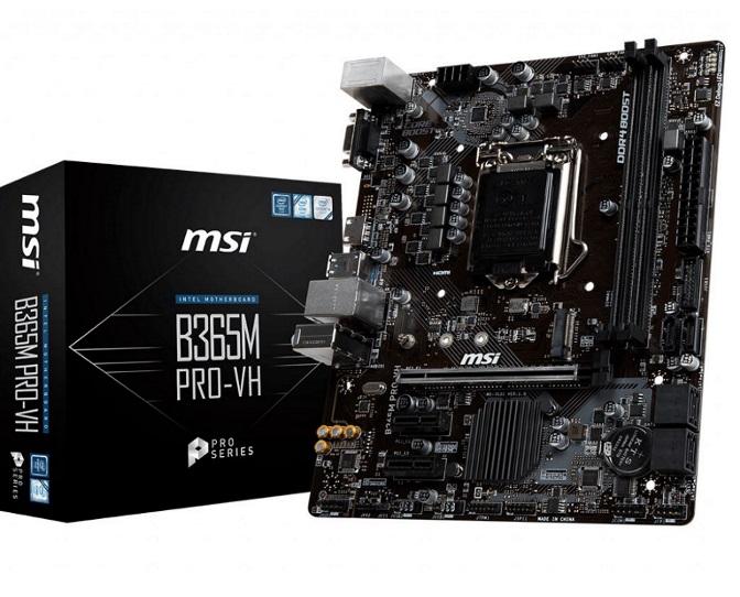 MSI B365M PRO-VH LGA1151 9Gen mATX MB 2xDDR4 1xPCI-E 3.0x16 slot VGA HDMI M.2 6xSATA 6xUSB3.1, 6xUSB2.0 ~B360M PRO-VH