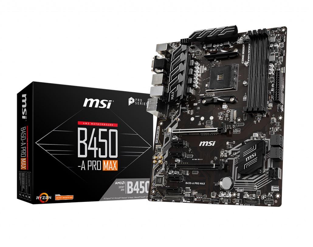 MSI B450-A PRO-MAX AM4 Ryzen ATX Motherboard 4x DDR4 6xPCIE 1xTurbo M.2  DVI HDMI VGA RAID GbE LAN 6x SATA3 6x USB3.2 6x USB 2.0