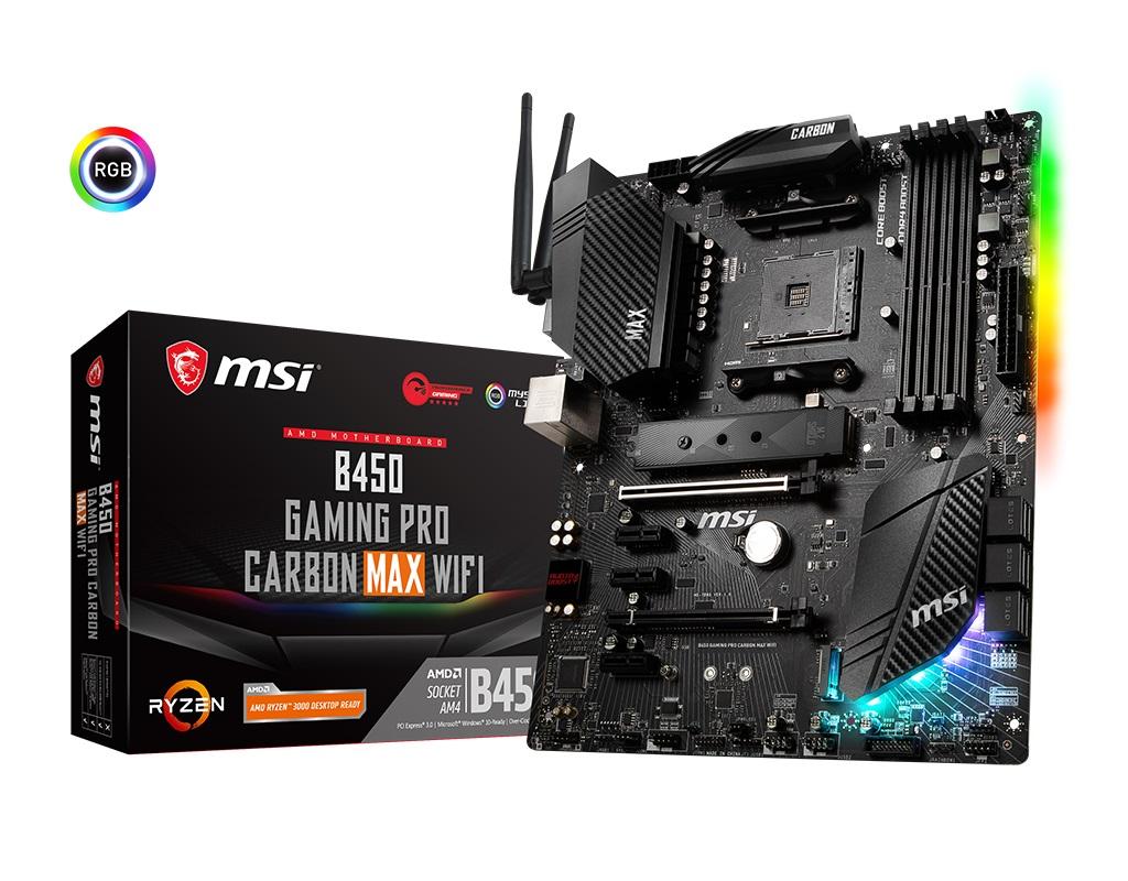 MSI B450 GAMING PRO CARBON MAX WIFI ATX Motherboard DDR4 6xPCIE 2xM.2 DP HDMI CrossFire LAN SATAIII 8xUSB