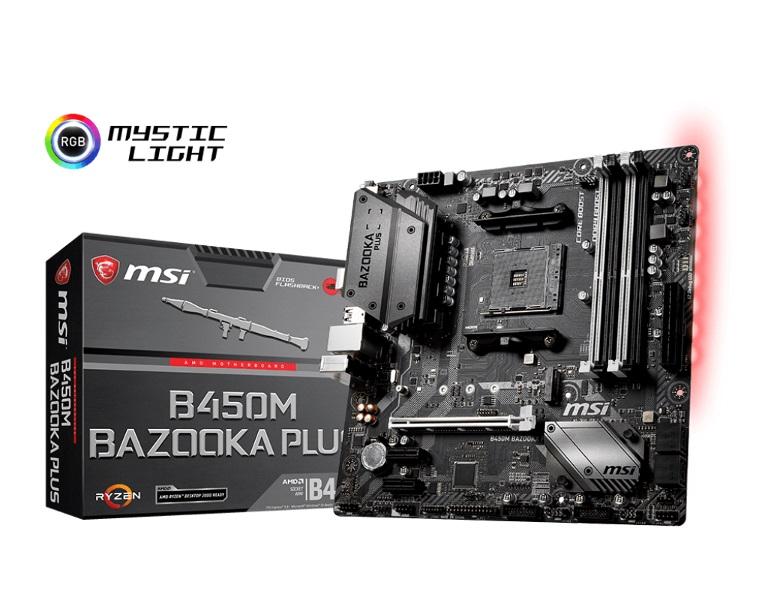 MSI B450M BAZOOKA PLUS AM4 Ryzen M-ATX Motherboard 4xDDR4 3xPCIE 1xM.2 DVI HDMI RAID GbE LAN 4xSATA3 8xUSB3.1