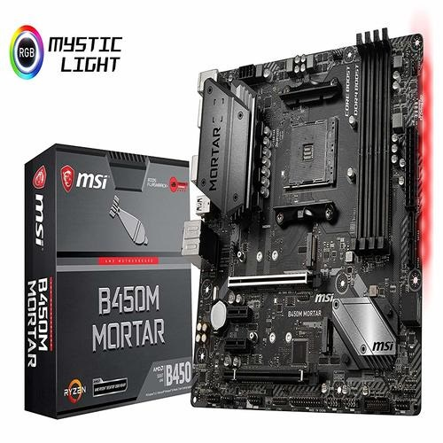 MSI B450M MORTAR AM4 Ryzen M-ATX Motherboard 4xDDR4 4xPCIE 2xM.2 DP HDMI GbE LAN 4xSATA3 1xUSB-C 7xUSB3.1
