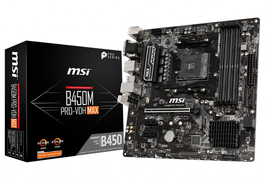 MSI B450M PRO-VDH Max AMD M-ATX Motherboard - AM4 Ryzen 4xDDR4 3xPCIE M.2 6xUSB3.2 8xUSB2.0 DVI VGA HDMI ~B450M PRO VDH PLUS