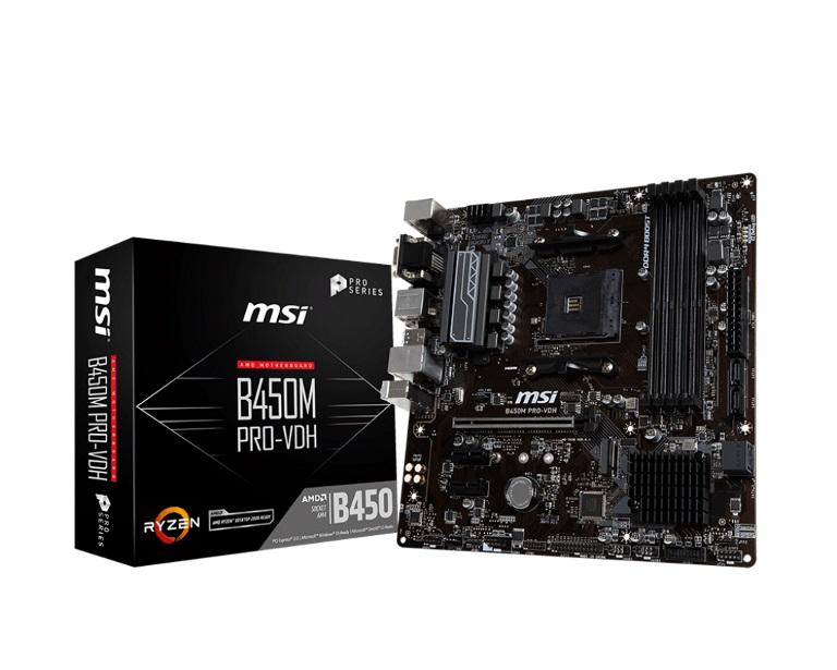 MSI B450M PRO-VDH Plus AMD M-ATX Motherboard - AM4 Ryzen 4xDDR4 3xPCIE 1xM.2 6xUSB3.1 8xUSB2.0 1xDVI-D 1xVGA 1xHDMI
