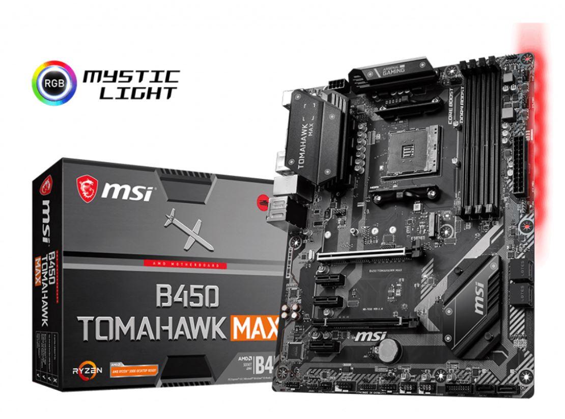 MSI B450 TOMAHAWK MAX AM4 Ryzen ATX MB 4xDDR4 5xPCIE 1xM.2 DVI HDMI RAID LAN 6xSATAIII 1xUSB-C 6xUSB3.2 2xUSB3.1