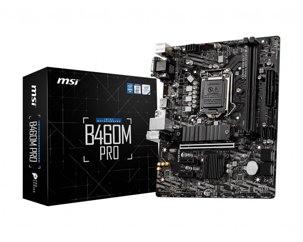 MSI B460M PRO LGA1200 10th Gen mATX MB 2xDDR4 3xPCIE 1xM.2 RAID 6xSATAIII 1xHDMI 1xDVI-D 1xVGA 6xUSB3.2 6xUSB2.0