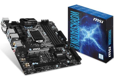 MSI C236M Workstation Motherboard - S1151 Xeon v5 DDR4 ECC SATA-E CF RAID