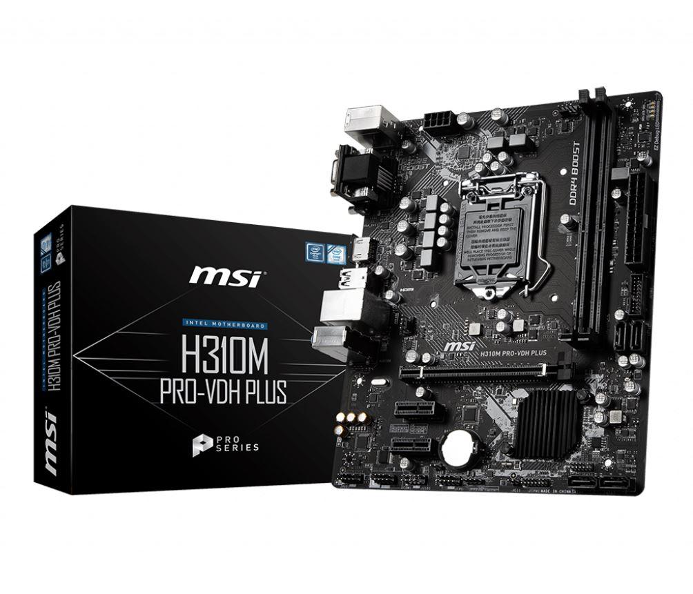 MSI H310M PRO VDH PLUS mATX MB - S1151 9Gen 2xDDR4 3xPCI-E, 2xUSB3.1, 4xUSB2.0, 1xHDMI, 1xD-Sub
