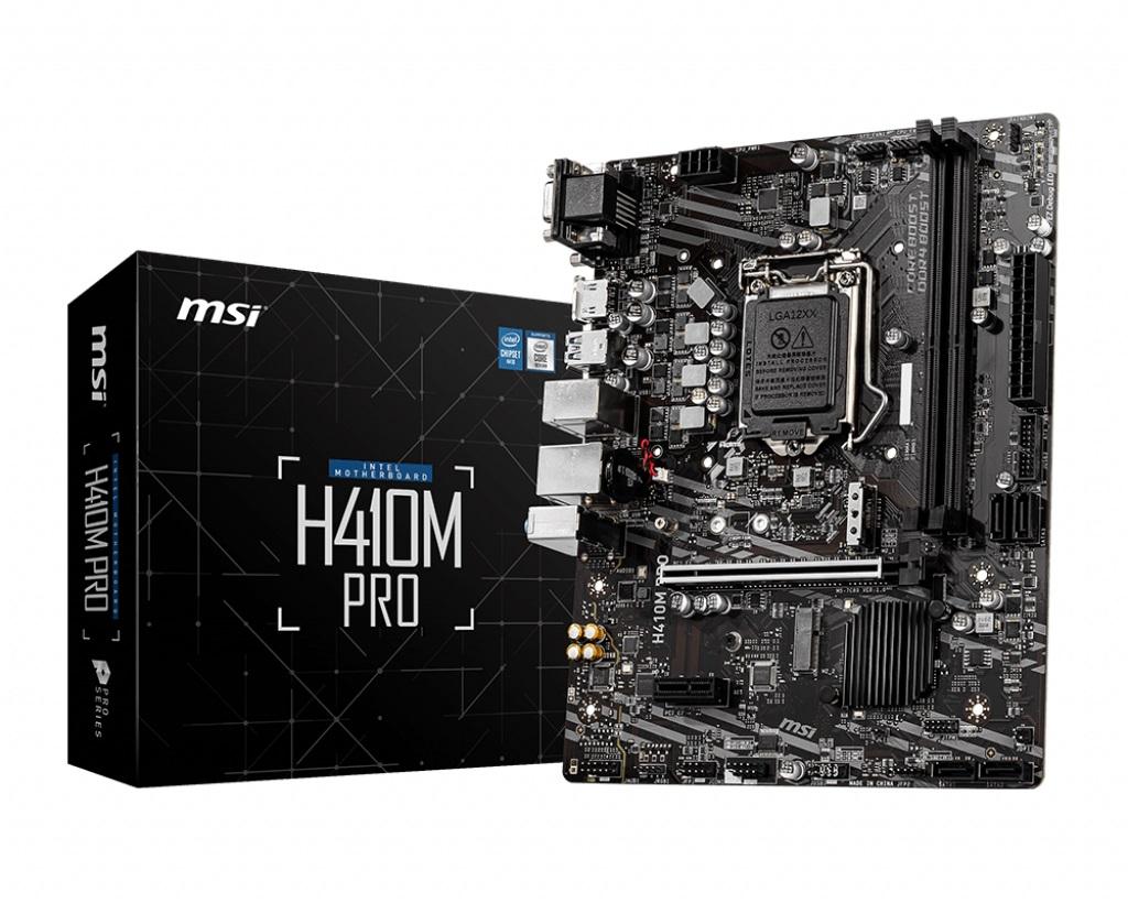 MSI H410M-PRO LGA1200 10th Gen mATX MB 2xDDR4  2xPCIE 2xM.2 LAN 4xSATAIII 1xHDMI 1xDVI-D 4xUSB3.2 6xUSB2.0