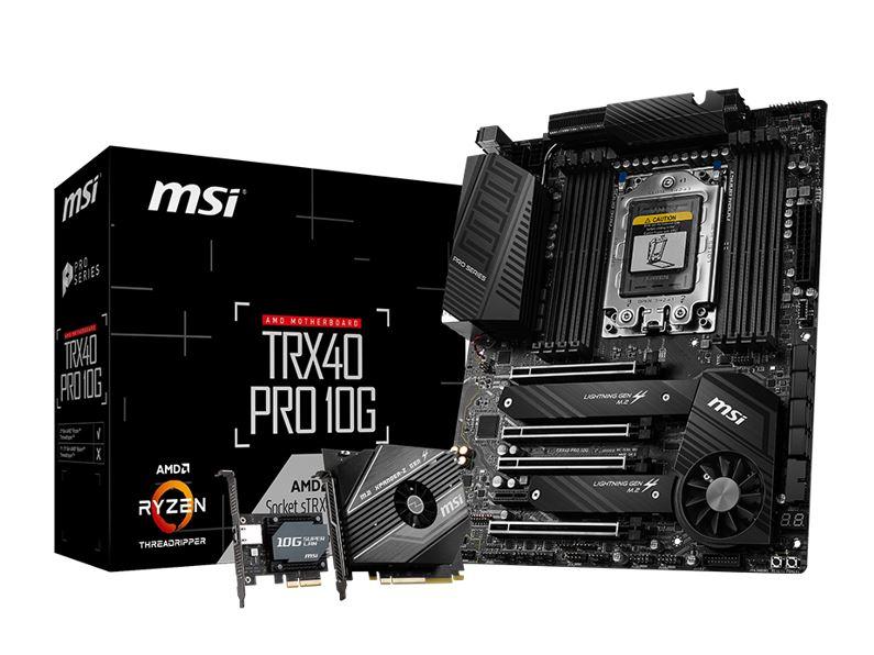 MSI TRX40 PRO10G ATX MB TR4 AMD ThreadRipper 3 8xDDR4 5xPCIe 2xM.2 RAID 2xIntel GbE LAN WiIFi BT CF/SLI 13xUSB3.2 4xUSB2.0 8xSATA RGB (LS)