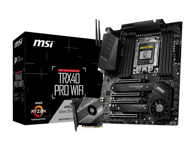 MSI TRX40 PRO WIFI ATX MB TR4 AMD ThreadRipper 2 8xDDR4 5xPCIe 2xM.2 RAID 2xIntel GbE LAN WiIFi BT CF/SLI 13xUSB3.2 4xUSB2.0 8xSATA RGB (LS)