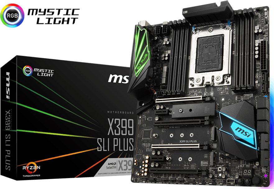MSI X399 SLI PLUS ATX Motherboard - TR4 Ryzen 8xDDR4 4xPCI-E 3xM.2 SLI/CF TypeC TPM