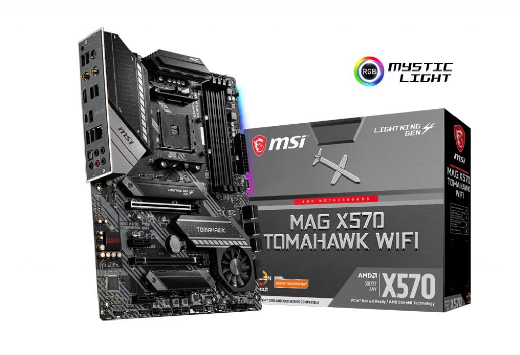 MSI MAG X570 TOMAHAWK WIFI AM4 ATX motherboard 4xDDR4 4xPCIE 2xM.2 Realtek ALC1200 6xSATA LAN RAID