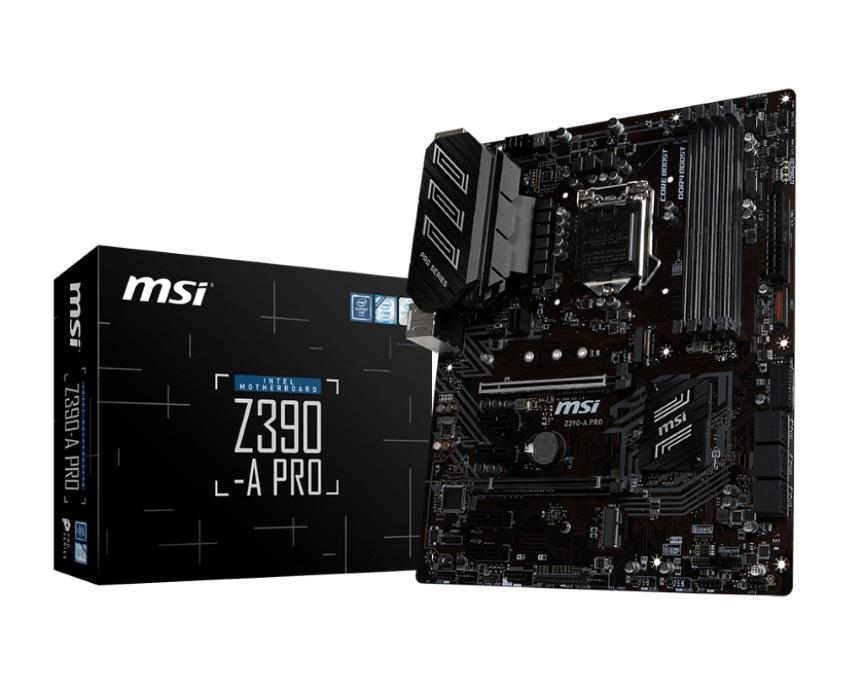 MSI Z390-A PRO ATX Motherboard -S1151 9Gen 4xDDR4 2xPCI-E DP/DVI-D/VGA 1xM.2 6xSATA RAID TypeC SLI/CF 4xUSB3.1 RGB