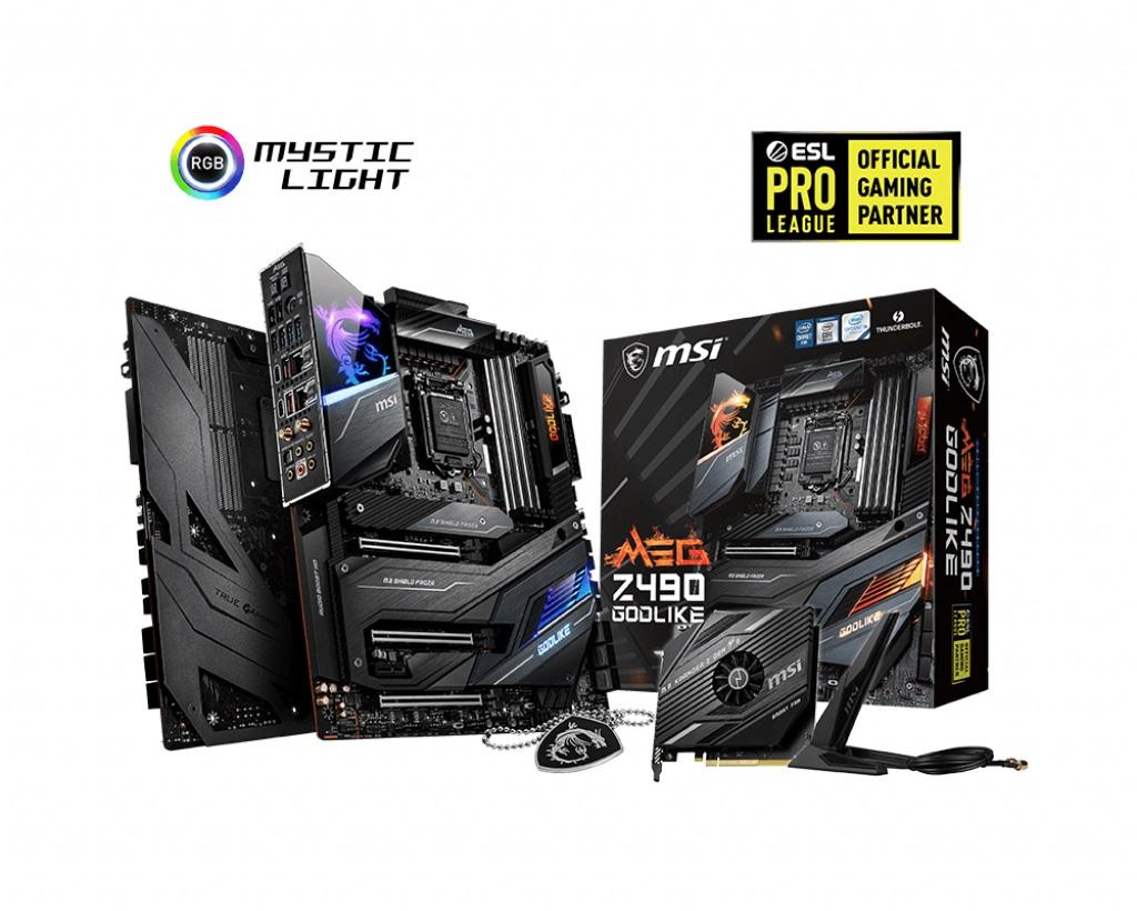 MSI MEG Z490 GODLIKE DDR4 E-ATX M.2 SATAIII RAID 1xDP 4xDIMM 6xUSB 3xPCIE 10th Gen LGA1200 CROSSFIRE WIFI 6 MU-MIMO FROZR Thunderbolt RGB