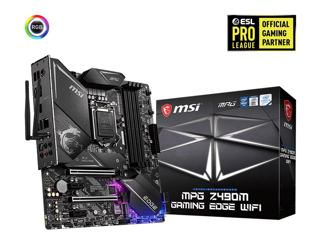 MSI MPG Z490M GAMING EDGE WIFI DDR4 Micro ATX M.2 SATAIII RAID 10th Gen LGA1200 1xDP 1xHDMI 2xPCIE 4xDIMM Crossfire FROZR WIFI 6 MU-MIMO RGB