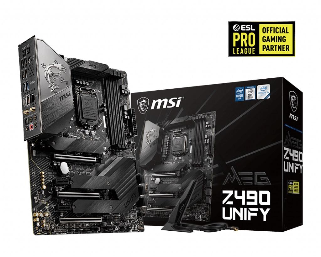MSI MEG Z490 UNIFY DDR4 ATX M.2 SATAIII RAID 10th Gen LGA1200 3xPCIE CROSSFIRE WIFI 6 MU-MIMO FROZR Extreme Power Triple Turbo M.2 Non-RGB