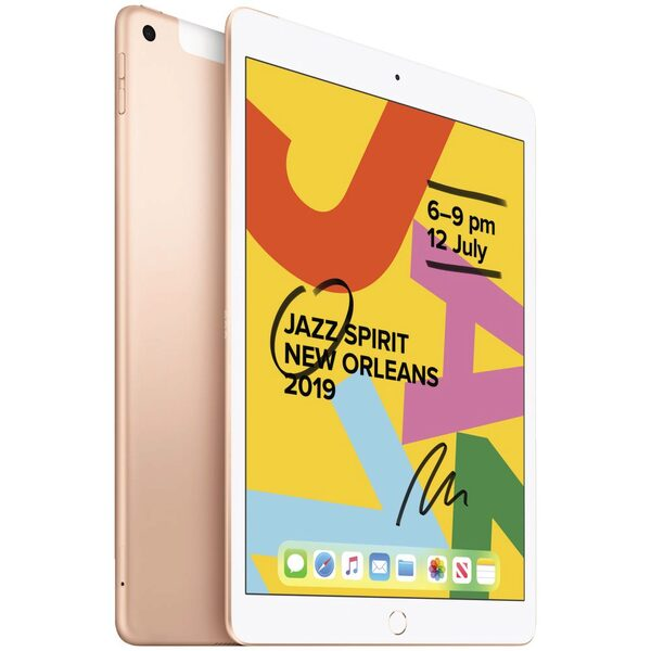 Apple iPad 10.2 G7 128GB Gold - Apple iPad with 10.2' Retina Display, iOS 13, A10 Fusion Chip, 128GB inbuilt memory, 8MP Camera, WiFi + Cellular Model