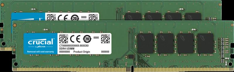 Crucial 64GB (2x32GB) DDR4 UDIMM 2666MHz CL19 DR x8 Dual Channel Desktop PC Memory RAM
