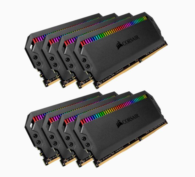 Corsair Dominator Platinum RGB 128GB (8x16GB) DDR4 3800MHz C19 XMP 2.0 Black Headspreader Desktop Gaming Memory