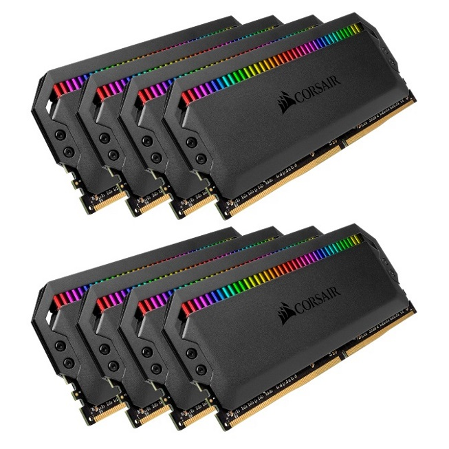 Corsair Dominator Platinum RGB 64GB (8x8GB) DDR4 3600MHz CL18 DIMM Unbuffered 18-19-19-39 XMP 2.0 Black Heatspreaders 1.35V Desktop PC Gaming Memory