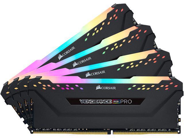 Corsair Vengeance RGB PRO 128GB (4x32GB) DDR4 3600MHz C18 1.35V 288Pin DIMM XMP 2.0 Anodized Aluminum Desktop Gaming Memory