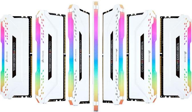 Corsair Vengeance RGB PRO 32GB (4x8GB) DDR4 3000MHz C15 Desktop Gaming Memory White