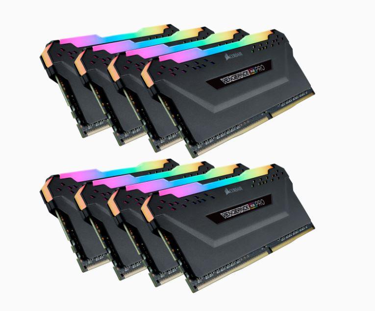 Corsair Vengeance RGB PRO 128GB (8x16GB) DDR4 3800MHz C19 19-19-19-39 Desktop Gaming Memory