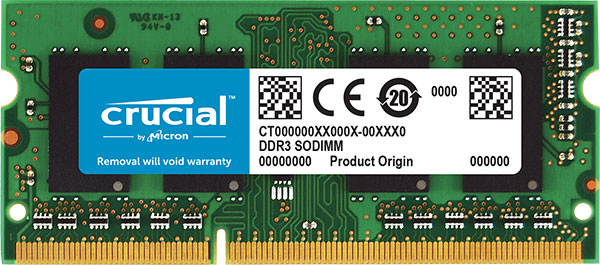 Crucial 4GB (1x4GB) DDR3 SODIMM 1600MHz 1.35V Single Ranked Single Stick Notebook Laptop Memory RAM