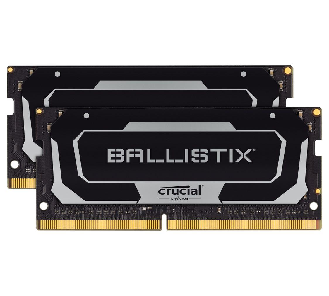 Crucial Ballistix 32GB (2x16GB) DDR4 SODIMM 2666MHz CL16 Black Aluminum Heat Spreader Intel XMP2.0 AMD Ryzen Notebook Gaming Memory