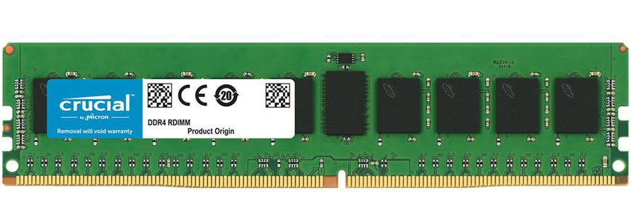 Crucial 32GB (1x32GB) DDR4 RDIMM 2666MHz ECC Registered CL19 Single Stick Server Desktop PC Memory RAM ~CT32G4RFD424A 2400MHz
