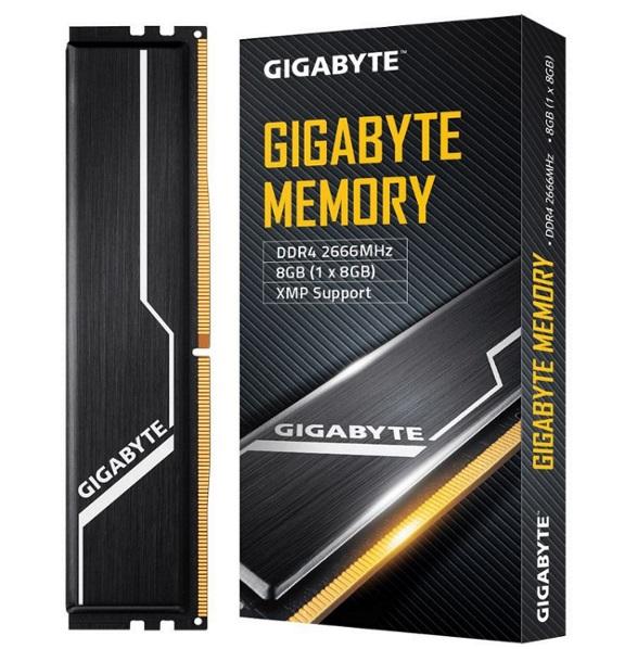 Gigabyte Gaming Memory 8GB (1x8GB) DDR4 2666MHz C16 1.2V 16-16-16-35 XMP 2.0 Dual Channel Kit Aluminum Black Heatsinks PC Desktop RAM
