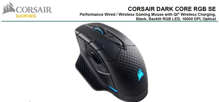 Corsair DARK CORE RGB SE Gaming Mouse - Black, Wire, Wireless Qi Charging,  Backlit RGB LED, 16000 DPI, Optical