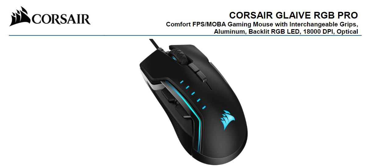Corsair Gaming GLAIVE PRO RGB Gaming Mouse - Black, Backlit RGB LED, 18000 DPI, Optical, CUE Software, Changeable Thumb Grips. (LS)