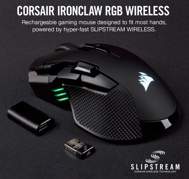 Corsair IRONCLAW RGB Wireless, FPS/MOBA 18,000 DPI,  SLIPSTREAM Corsair Wireless Technology Gaming Mouse