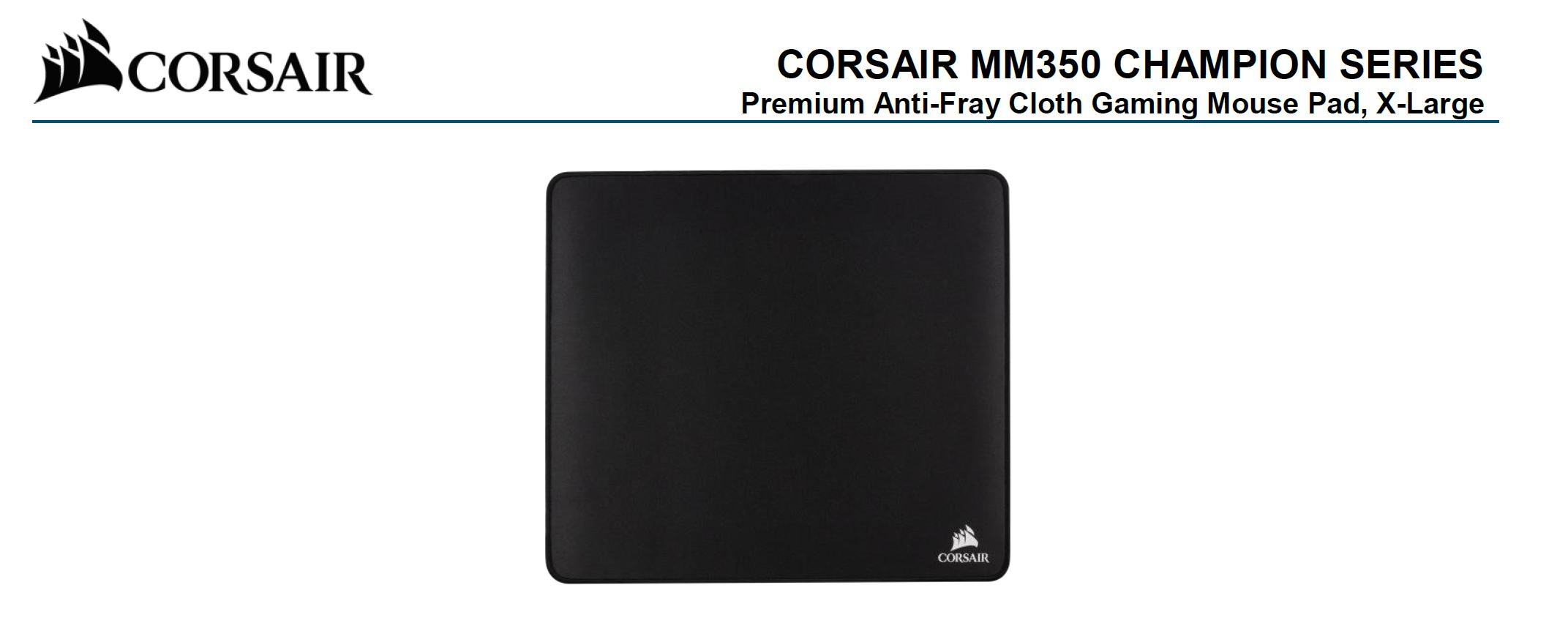 Corsair MM350 Champion Series X-Large Anti-Fray Cloth Gaming Mouse Pad. 450x400mm 2 Years Warranty