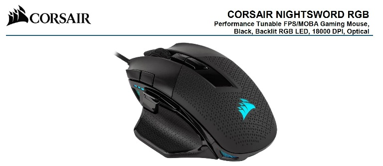 Corsair Nightsword RGB Smart Tunable, FPS/MOBA, 18000 DPI, Gaming Mouse