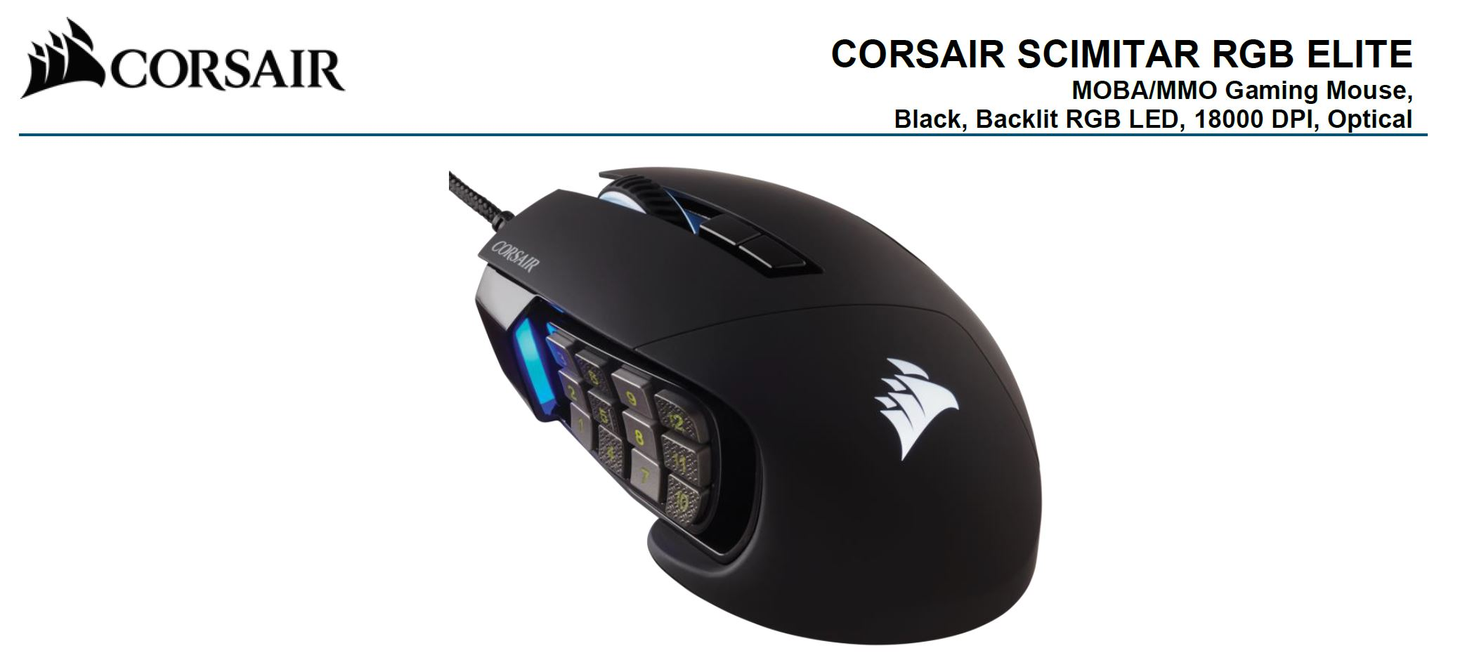 Corsair SCIMITAR RGB ELITE Black Gaming Mice, 17 programmable buttons, 18,000 DPI