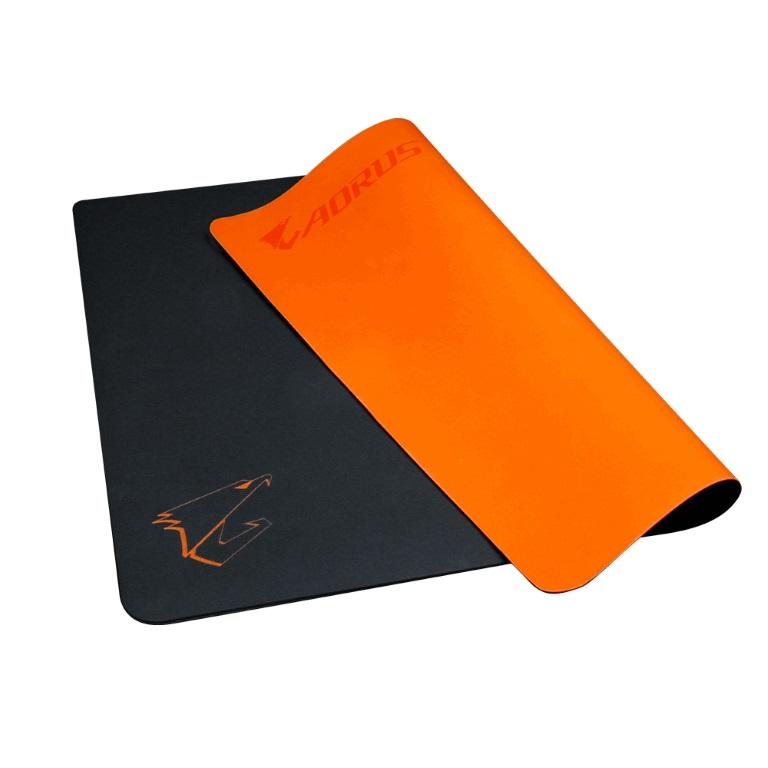 Gigabyte AORUS AMP500 Hybrid Gaming Mouse Pad Fabric Black Surface Organse Silicon Base Heat Molding Edge Spill-Resistant Washable 430x370x1.8mm