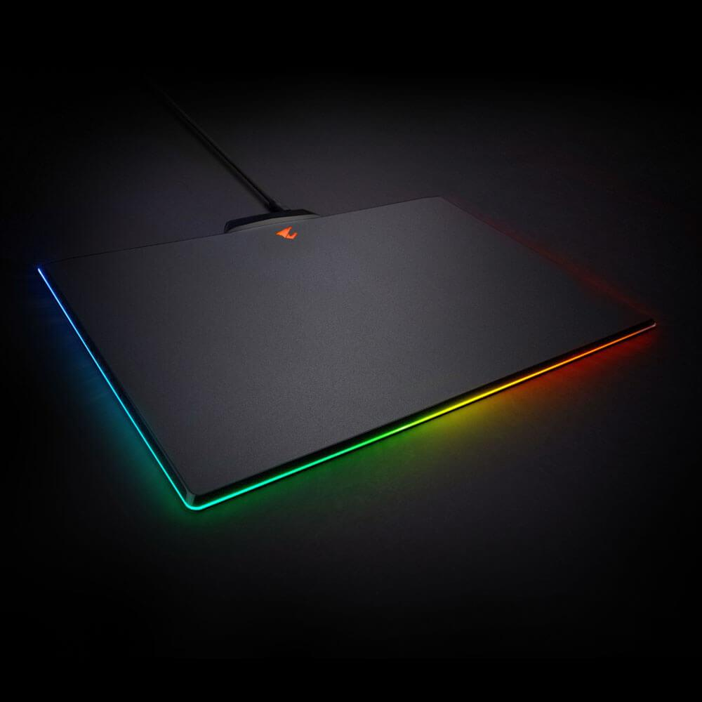 Gigabyte AORUS P7 RGB Fusion Gaming Mouse Pad Micro-Textured Surface Mat Non-Slip Rubber Base Detachable Braided Cable Plastic 350x240x4.6mm (LS)