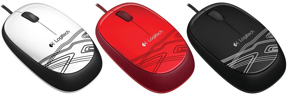 Logitech M105 Corded Optical Mouse Red - High-definition optical tracking Full-size comfort Ambidextrous design